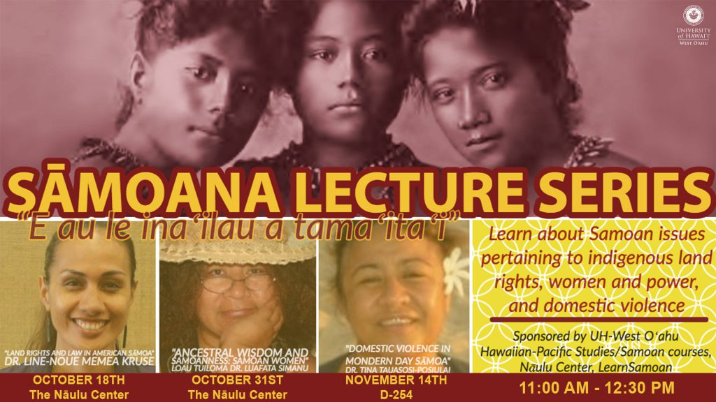 Flier for Samoana Lecture series showing same information as is contained in the artilce.