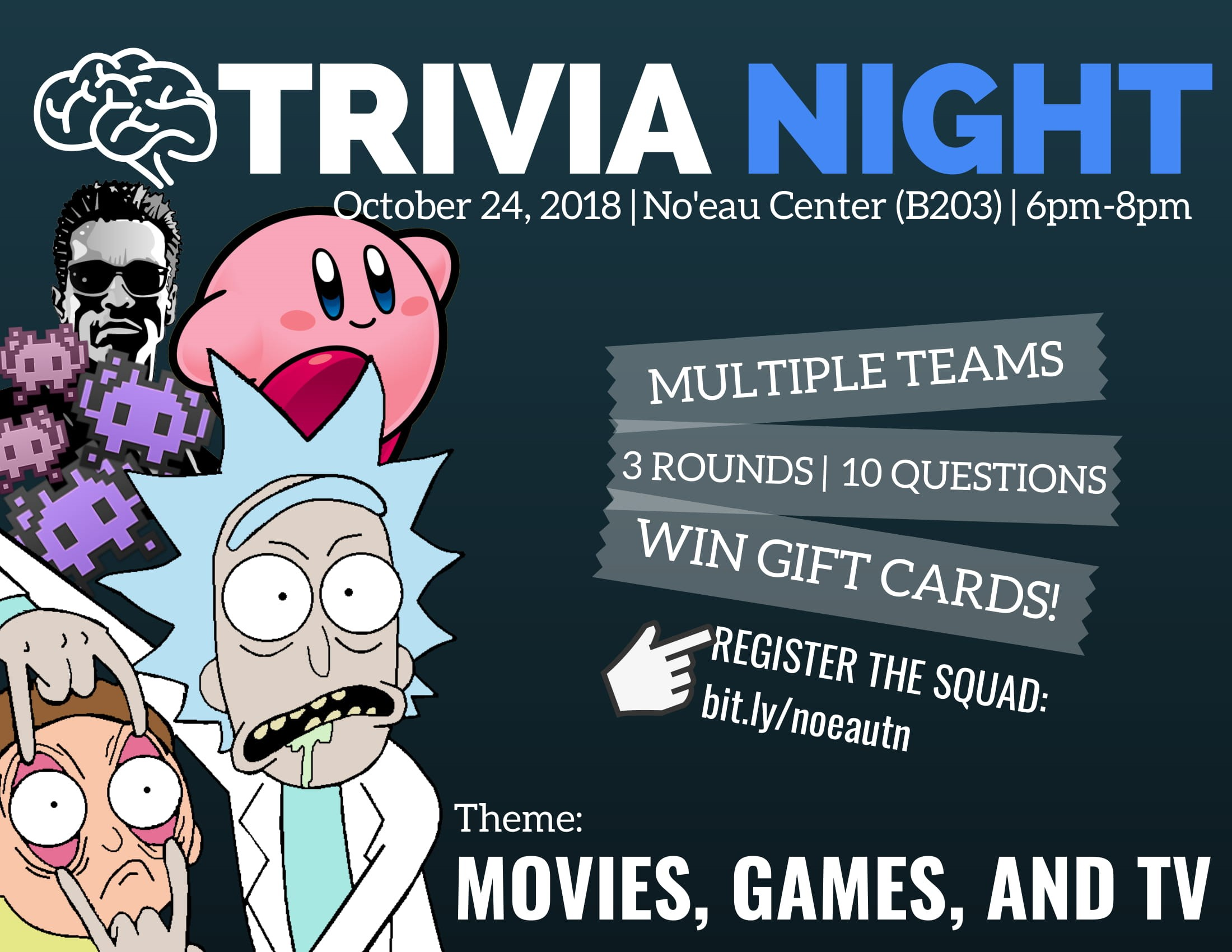 Flier for Trivial Night that contains same information as is in the article