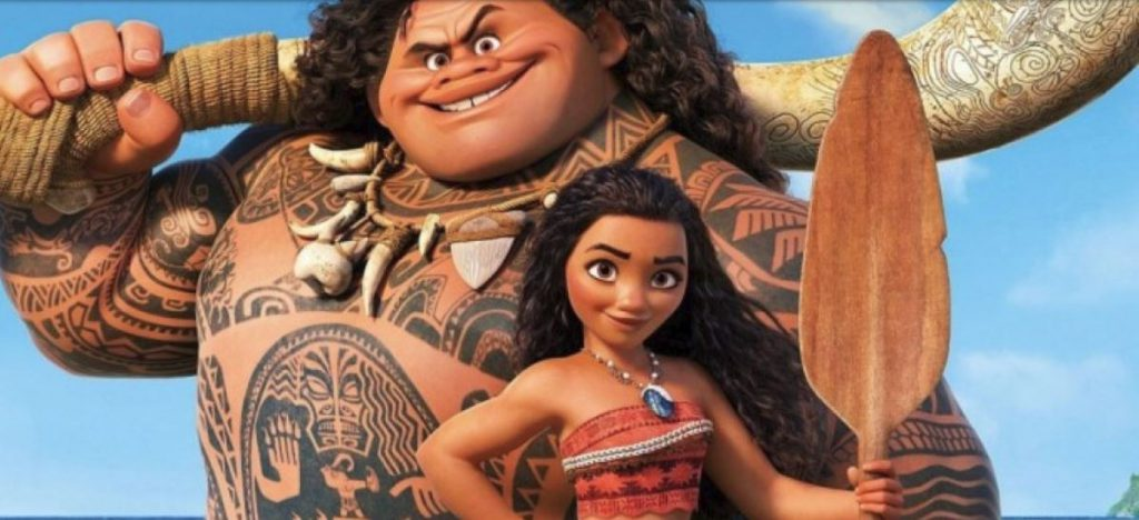 image grab from movie Moana showing characters Maui and Moana