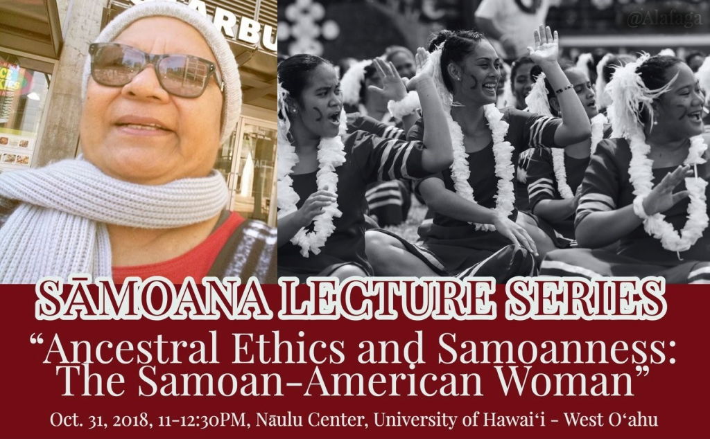 Part of flier for lecture showing picture of speaker, samoan women, and time and place of lecture