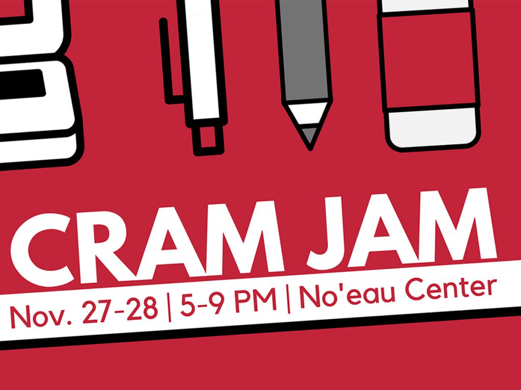 Flier for Cram Jam showing location and hours