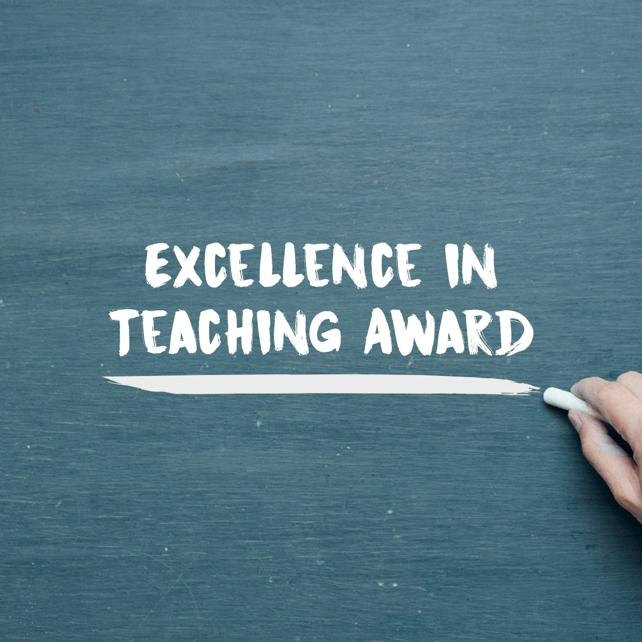 Illustration of someone writing on a chalkboard with the words Excellence in Teaching Award