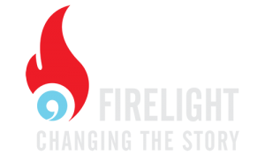 logo for firelight media - it appears to be a red flame with a blue circular center at the bottom. Inside the blue is a white apostrophe