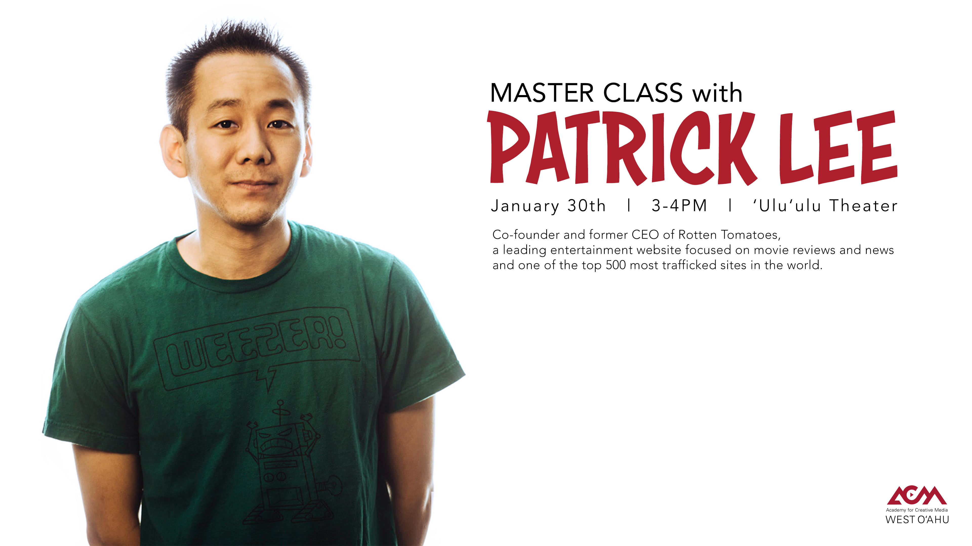 Flier for event with picture of Patrick Lee and the same information about the event as is contained in the article