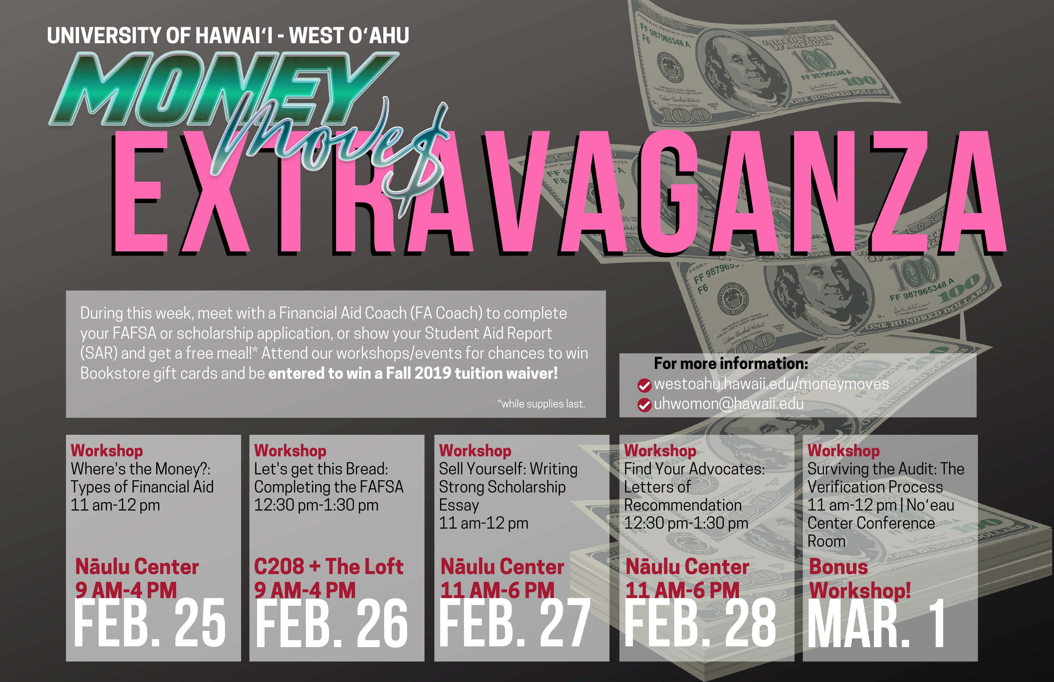 Flier for Money Move$ Extravaganza, listing out workshops running Feb. 25 to March 1 on the UH West Oahu campus.