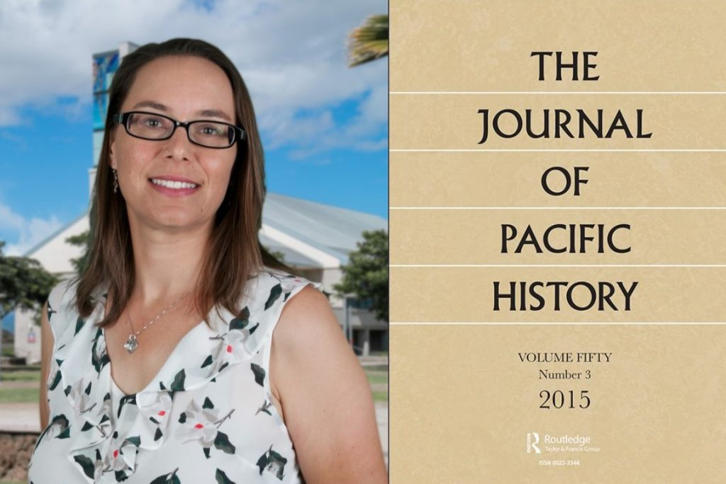 A montage of two images. On the left is a photo of Dr. Monica LaBriola, a UH West Oahu history assistant professor. On the right is a shot of the cover of The Journal of Pacific History.