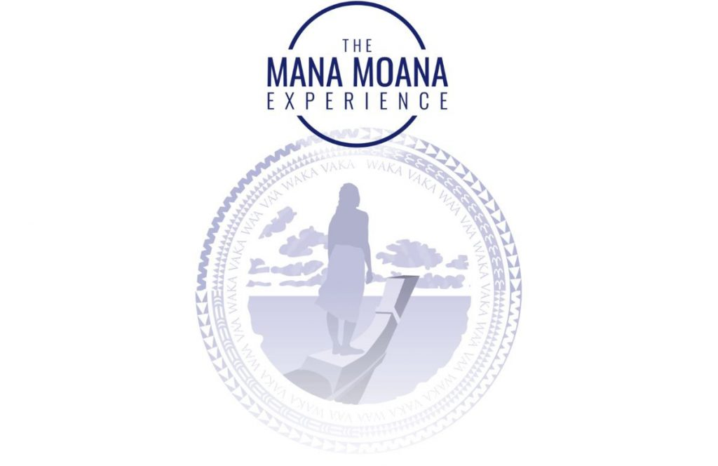 Logo for The Mana Moana Experience with a silhoutte of someone wearing a malo standing at the front of a sailing canoe looking off at the horizon