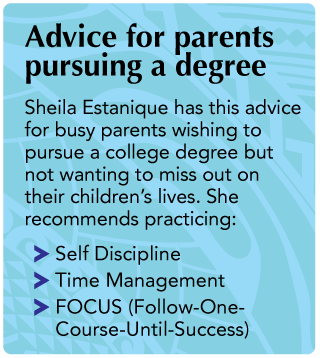 Text box with headline that says Advice for parents pursuing a degree. The text body says Sheila Estanique has this advice for busy parents wishing to pursue a college degree but not wanting to miss out on their children's lives. She recommends practicing: · Self Discipline · Time Management · FOCUS (Follow-One-Course-Until-Success)