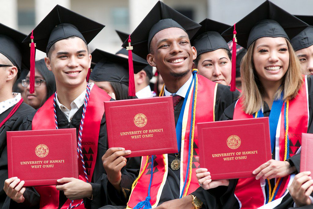 Photo of graduates holding up red diploma holders with words University of Hawaii West Oahu on front. The students are in black gowns and wearing black mortarboards with red tassles and smiling broadly
