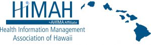 Loco for the Health Information Management Association of Hawaii which consists of blue letters and a blue map of the state