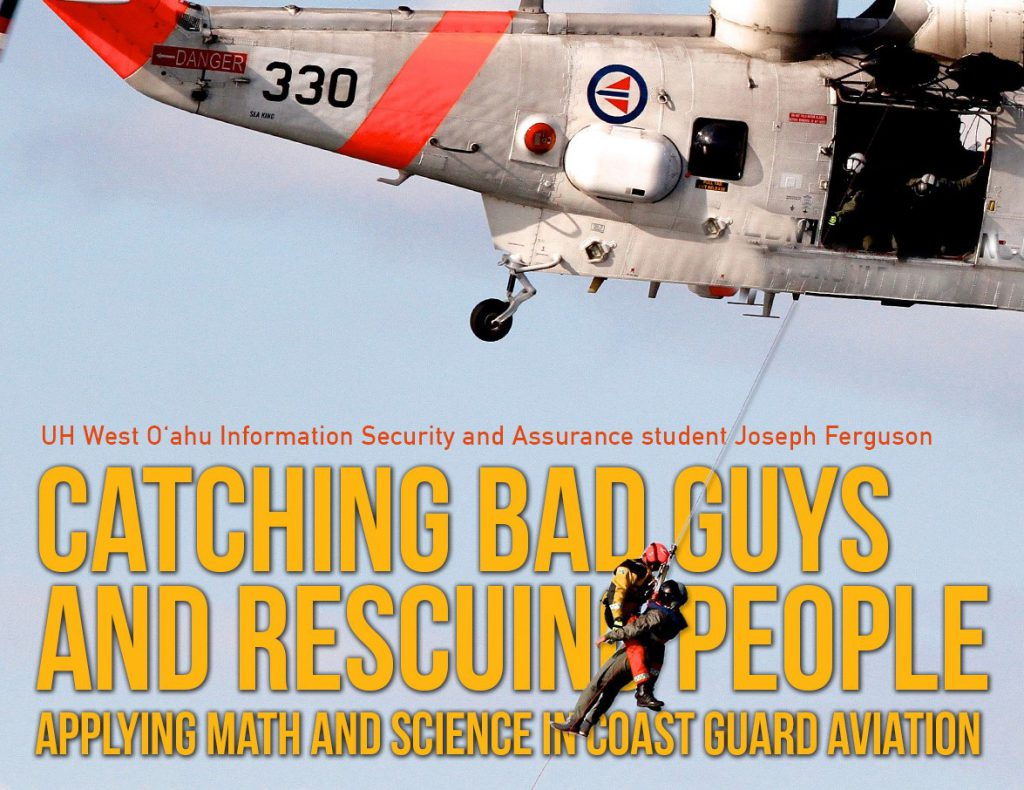 Flier for Math + Science + X seminar. Photo of a Coast Guard helicopter with a line dangling beneath it carrying to people during what appears to be a rescue. The text includes the title of the talk, along with time, date and place and who is speaking