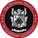 Round logo that is red, white and black. In the center is some sort of seal ringed with the words The National Society of Leadership and Success
