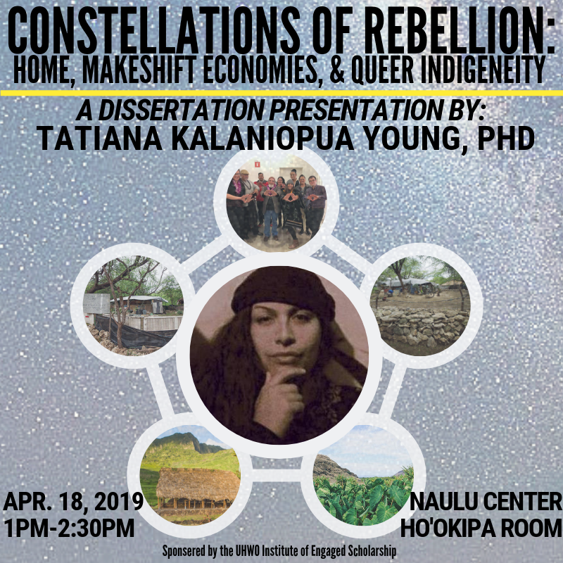 Flier for Dr. Kalani Young's dissertation talk. It gives the title of the talk along with the time and date and place. In the center of the flier is a photo of Young in a circle, surrounded by five other circles with each contains various pictures related to the talk, which is titled Constellations of Rebellion