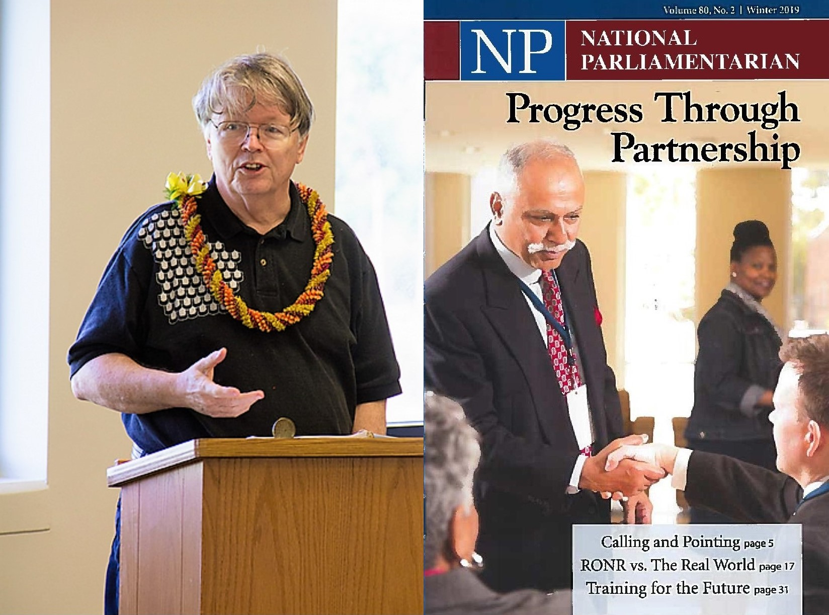 Photo montage. On the left is Dr. William Puette at a lecturn talking while wearing a lei. On the right is the cover of National Parliamentarian journal