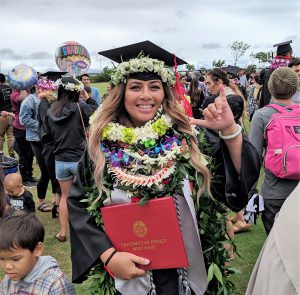Photo of a woman in graduation garb with leis piled high around her neck. She is also flashing the shaka sign