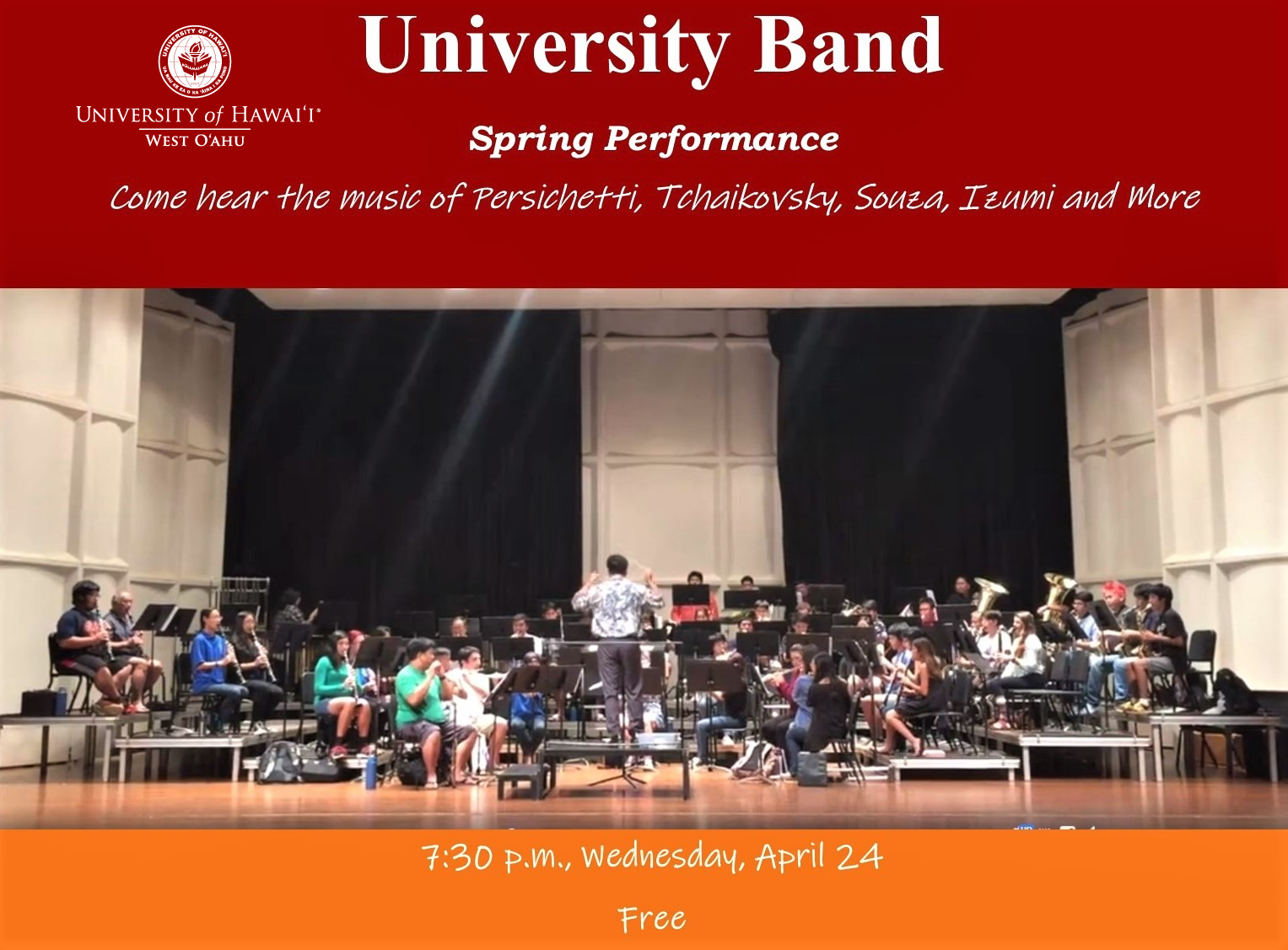Flier for the University Band Spring performance. The flier is composed of a broad red band at the top, a photo of the band practicing in the middle and an orange band at the bottom. The colored bands contain information about the performance, including time, date, place.