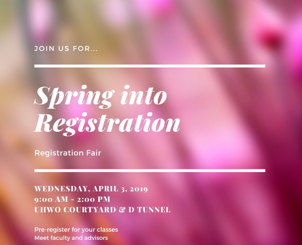 Flier for Spring into Registration event listing date, time, and place. The flier also states that it is a pre-registration event. The background appears to be an out of focus photograph of a pink flower