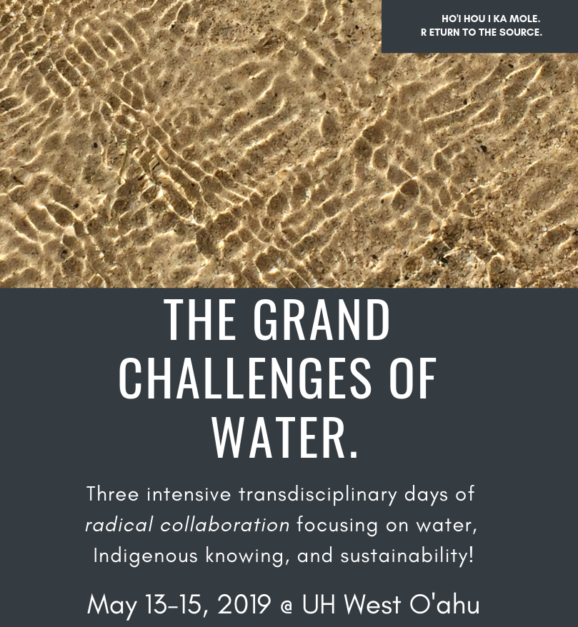 Flier for the event that has a photo of water flowing across some sand or ground; the bottom half of the flier is gray with letters in white. it says The Grand Challenges of Water. Three intensive transdisciplinary days of radical collaboration focusing on water, Indigenous knowing and sustainability! May 13-15, 2019 @ UH West Oahu. At the top of the page is also a small gray box that was Ho'i Hou I Ka Mole. Return to the Source.