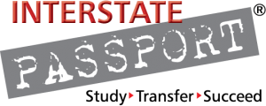 Logo for Interstate passport consisting of the word Interstate in a red font and the word PASSPORT in white against a gray background