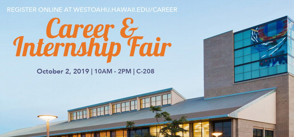 Career and Internship Fair on October 2nd in room C208.