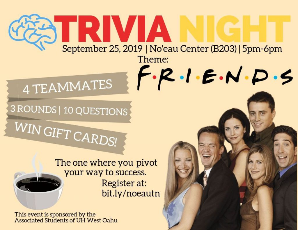 Trivia Night at the Noeau Center features students competing to answer questions. On September 25, from 5 to 6 p.m.