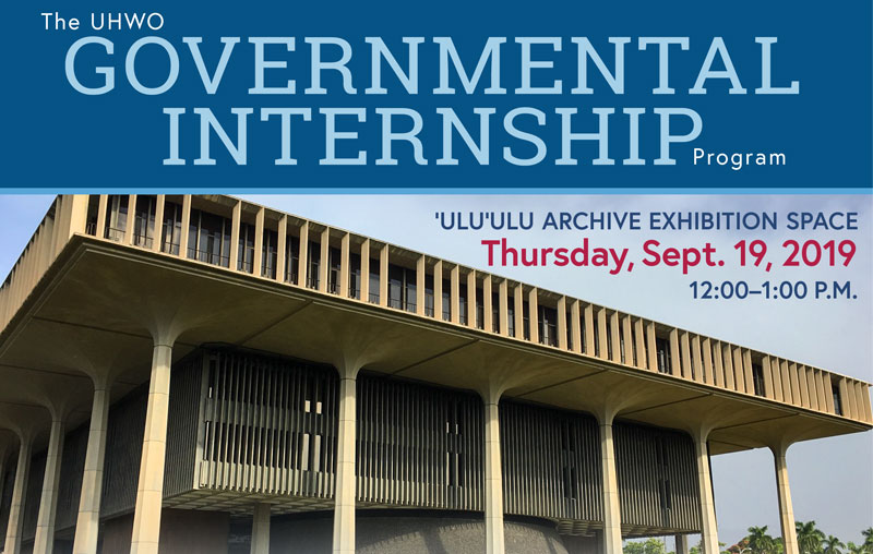 An announcement promoting the Legislative Internship program at UH West Oahu.