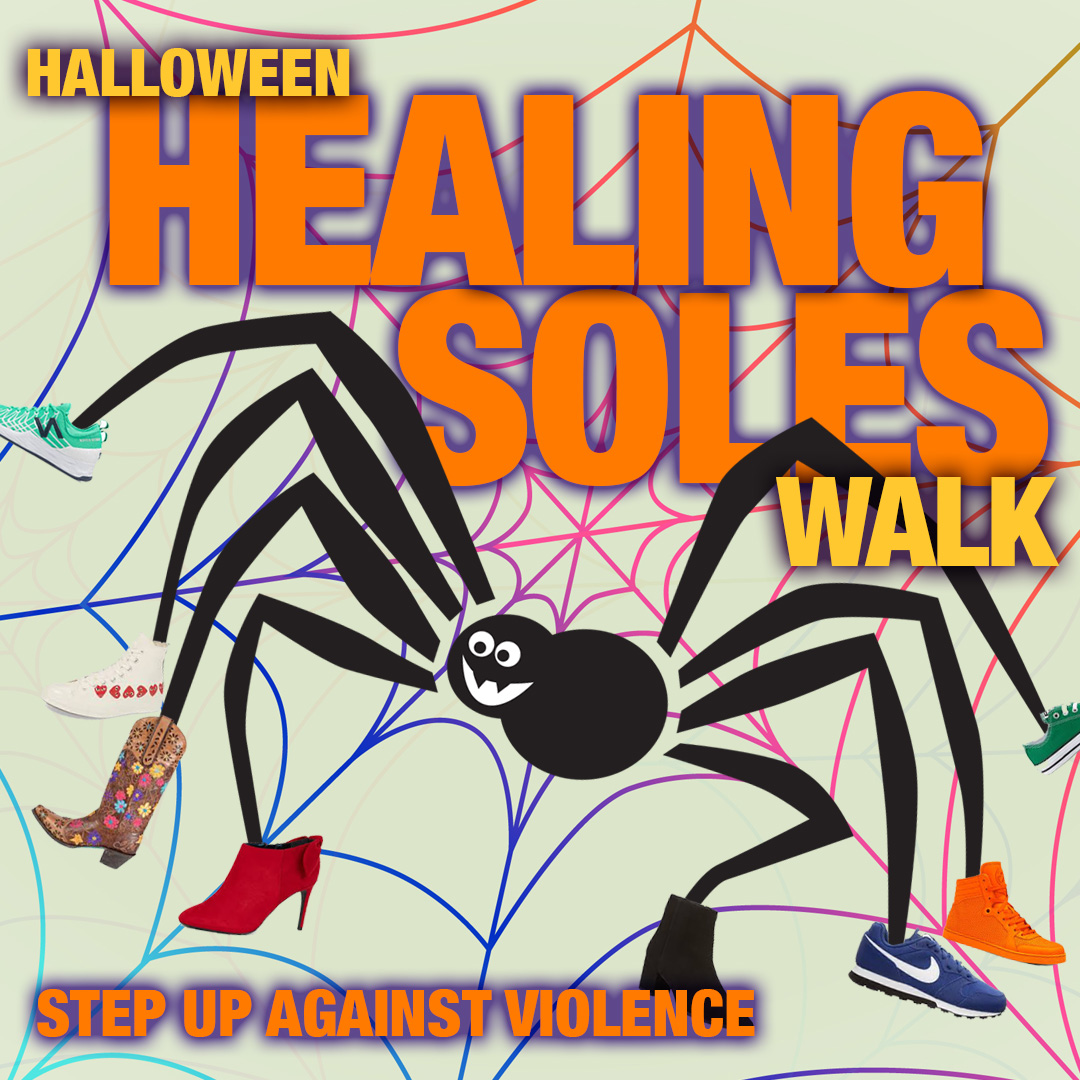 Healing Soles Walk graphic with a cartoon spider.