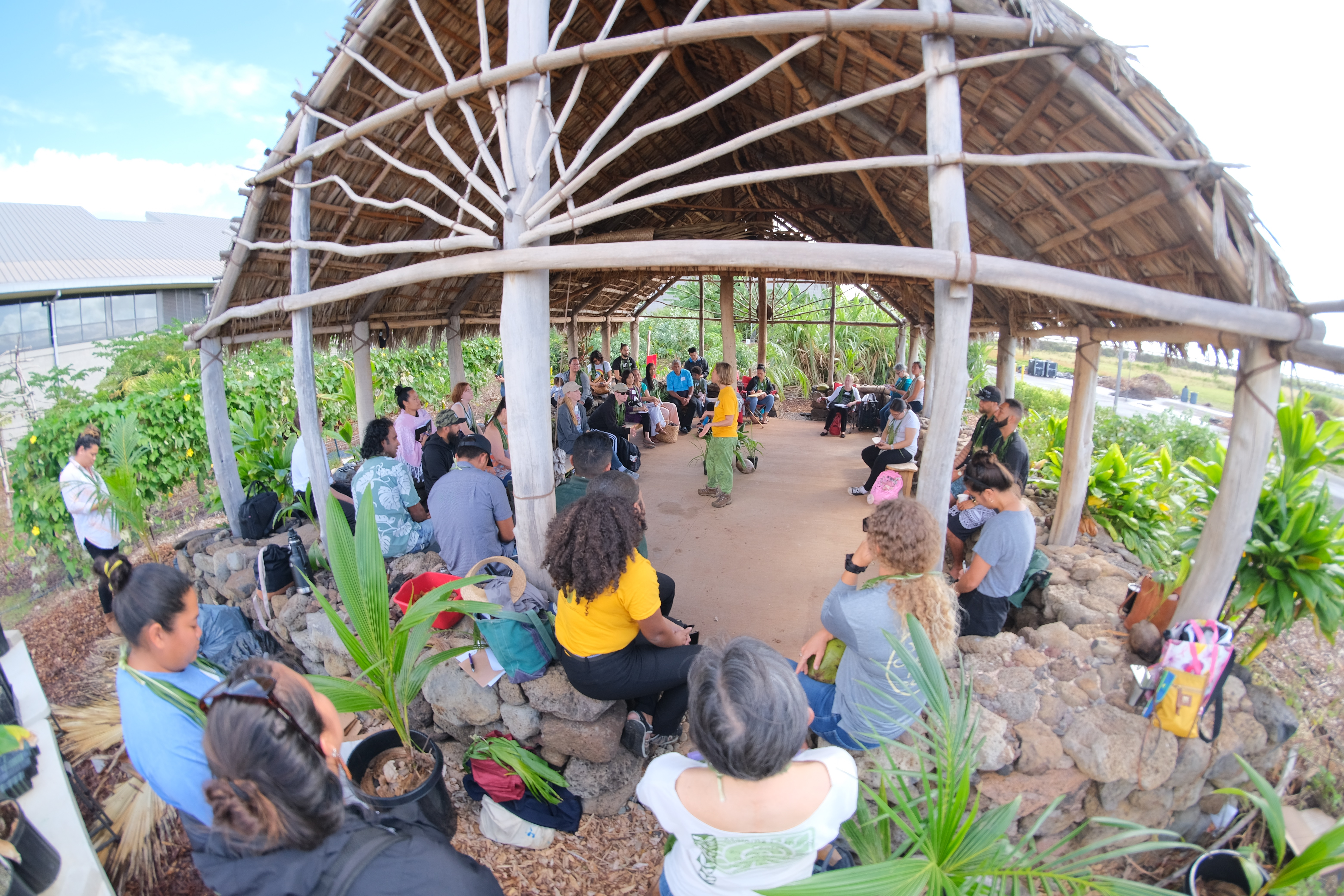 People gathered under the Hale Kuahuokalā at the Student Organic Garden.