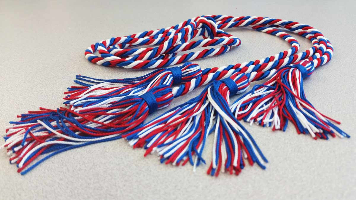 A red, white, and blue braided cord.