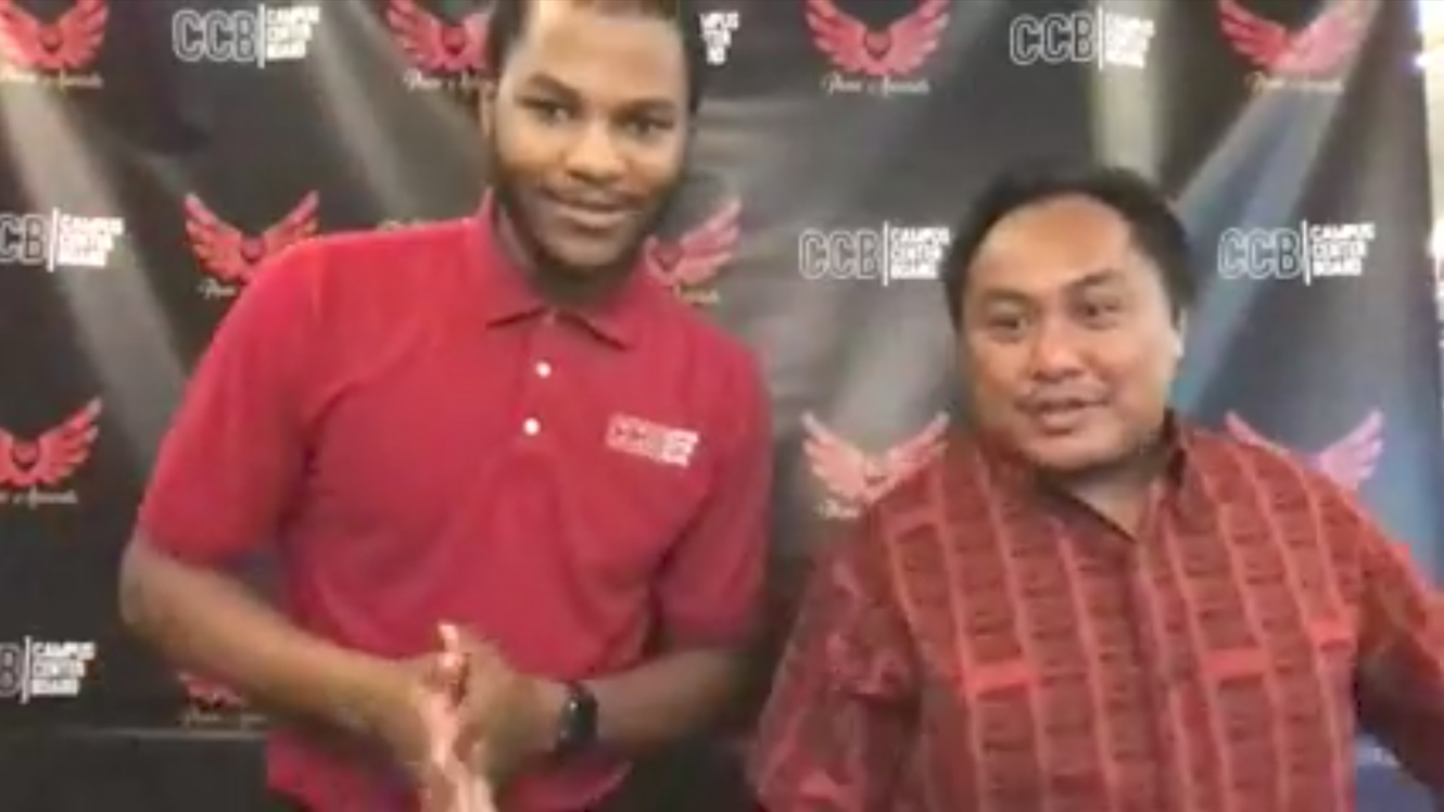Darryl Johnson and Rouel Velasco standing next to each other and welcoming viewers to the Virtual Pueo Awards.