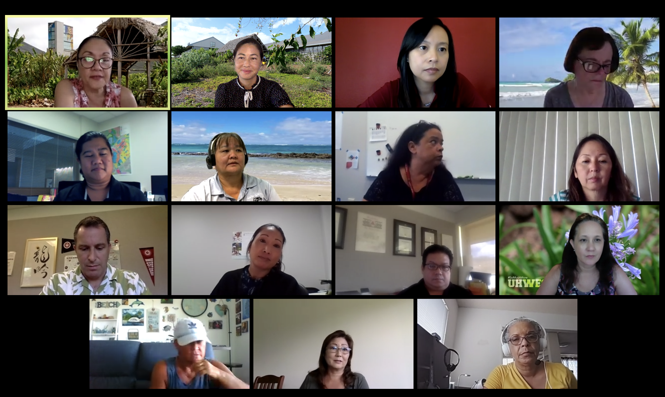 Screen shot of UH West Oʻahu officials during a recent Zoom meeting.