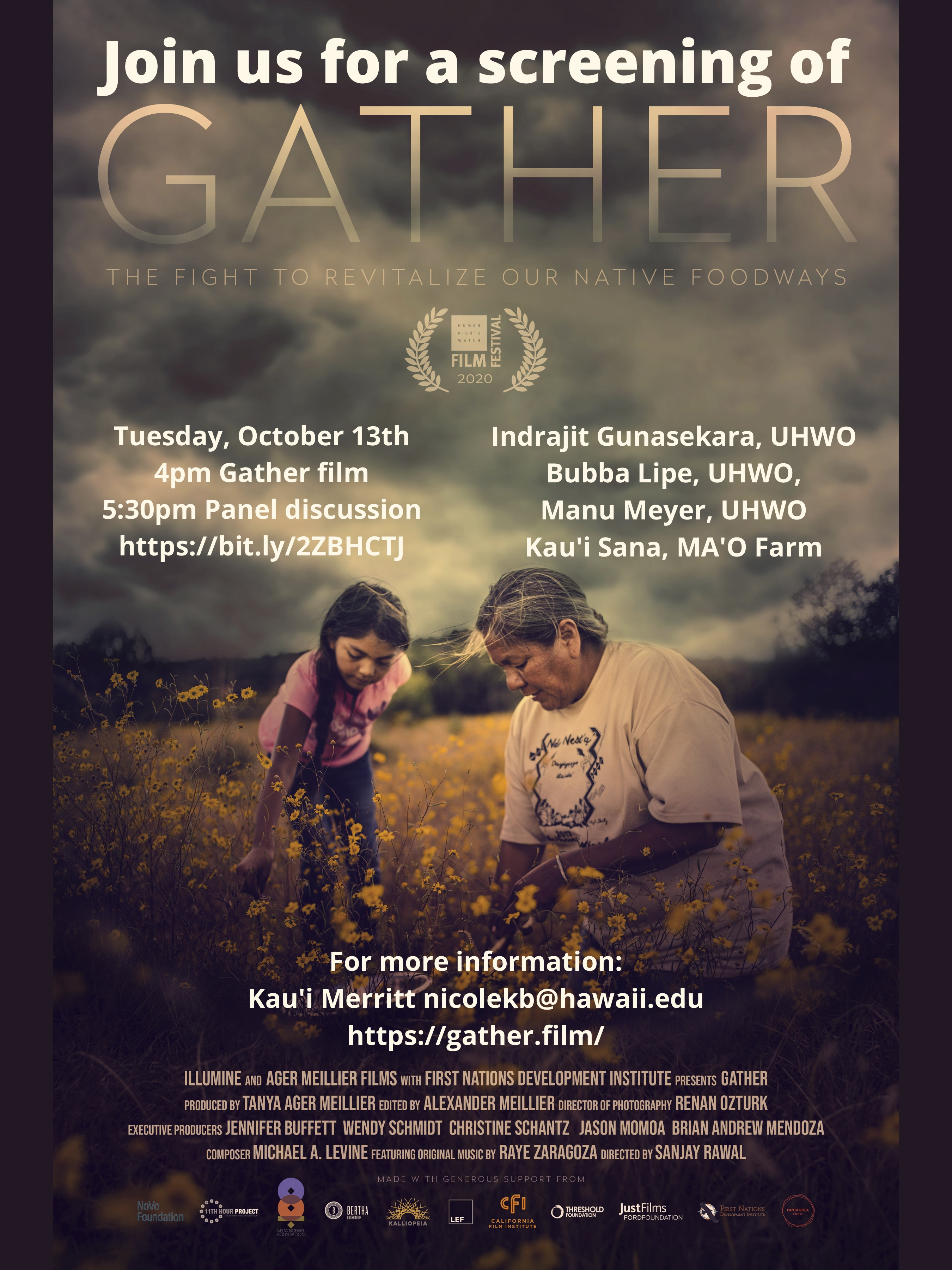 """""""Gather"""" movie poster and event flyer."""