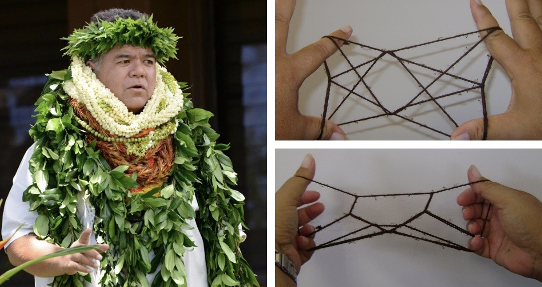 Dr. Kalani Akana and closeups of hands demonstrating string figures.