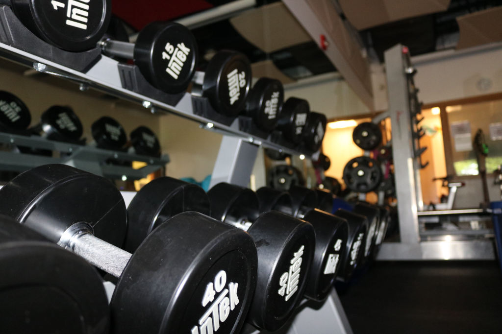 Weight rack in the fitness center