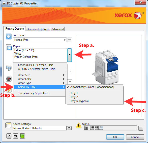 Printing from Xerox Bypass Tray in Library InfoCommons