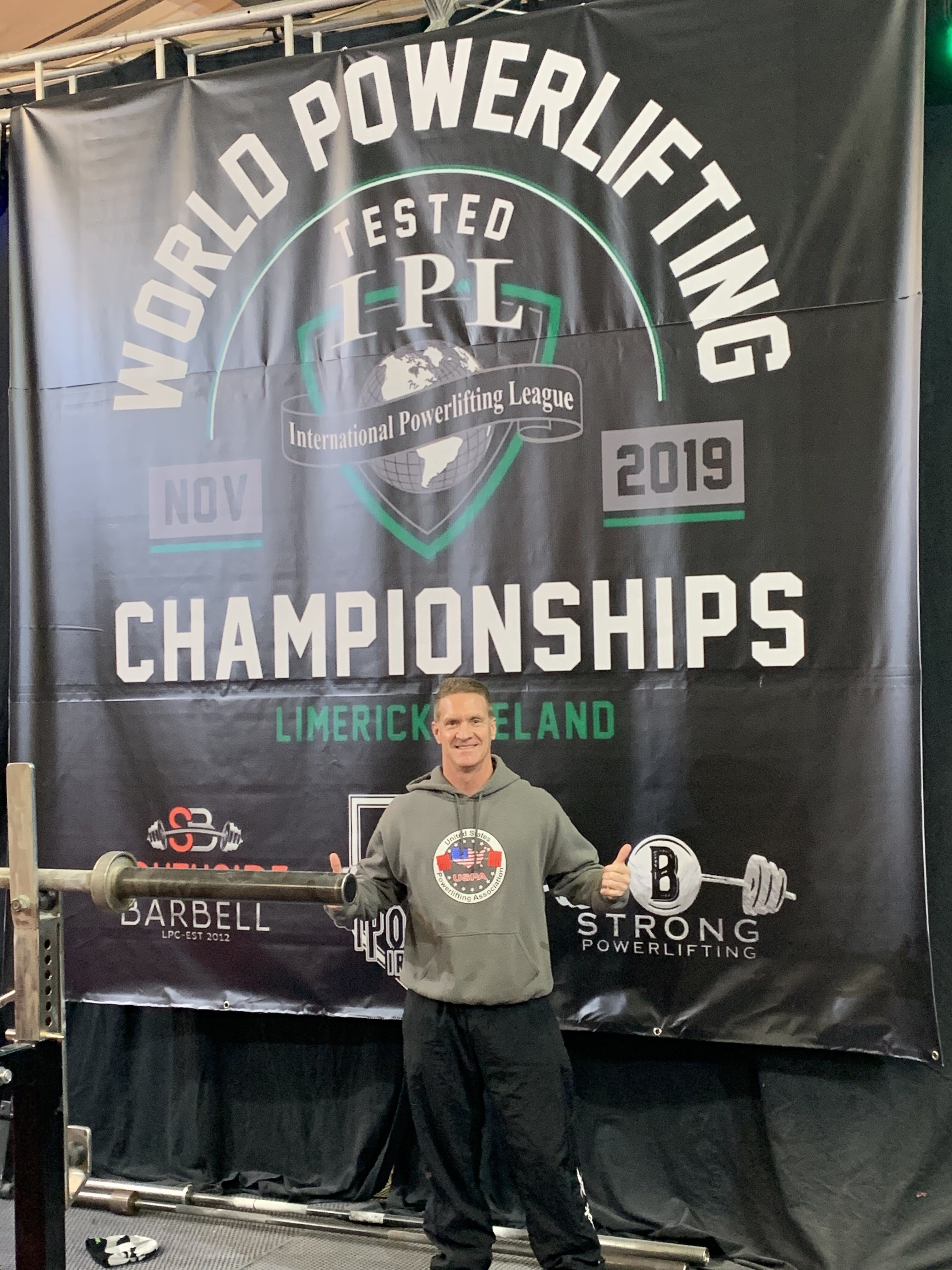 Dr. Matthew Chapman at the International Powerlifting League Drug Tested World Powerlifting Championships.