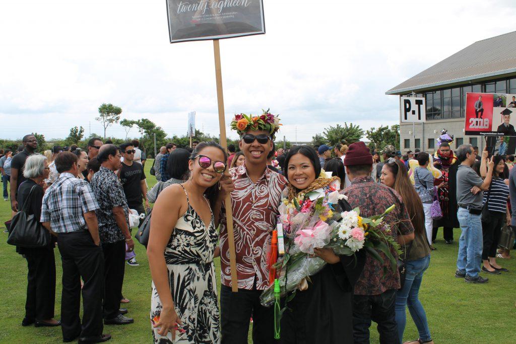 Group photo of siblings Joseph Shane Payongayong, Jalen Busch and Jo-Ann Payongayong.