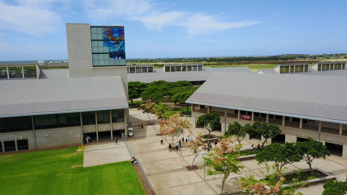 Aerial view of the library and C building at the University of Hawaiʻi–West Oʻahu.