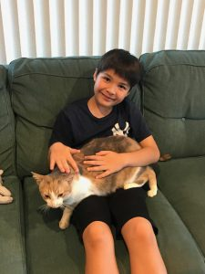 Boy and cat.