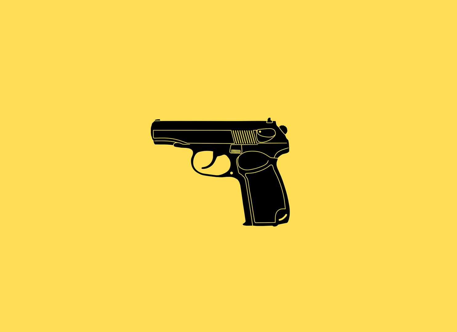 Picture of a black pistol against a yellow background.
