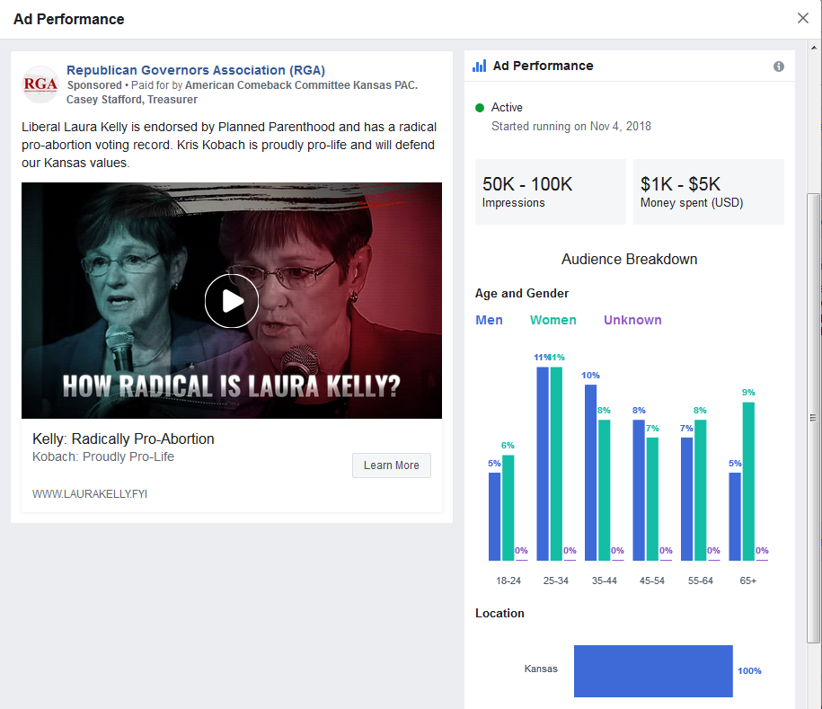 Image of Facebook Ad for Kris Kobach