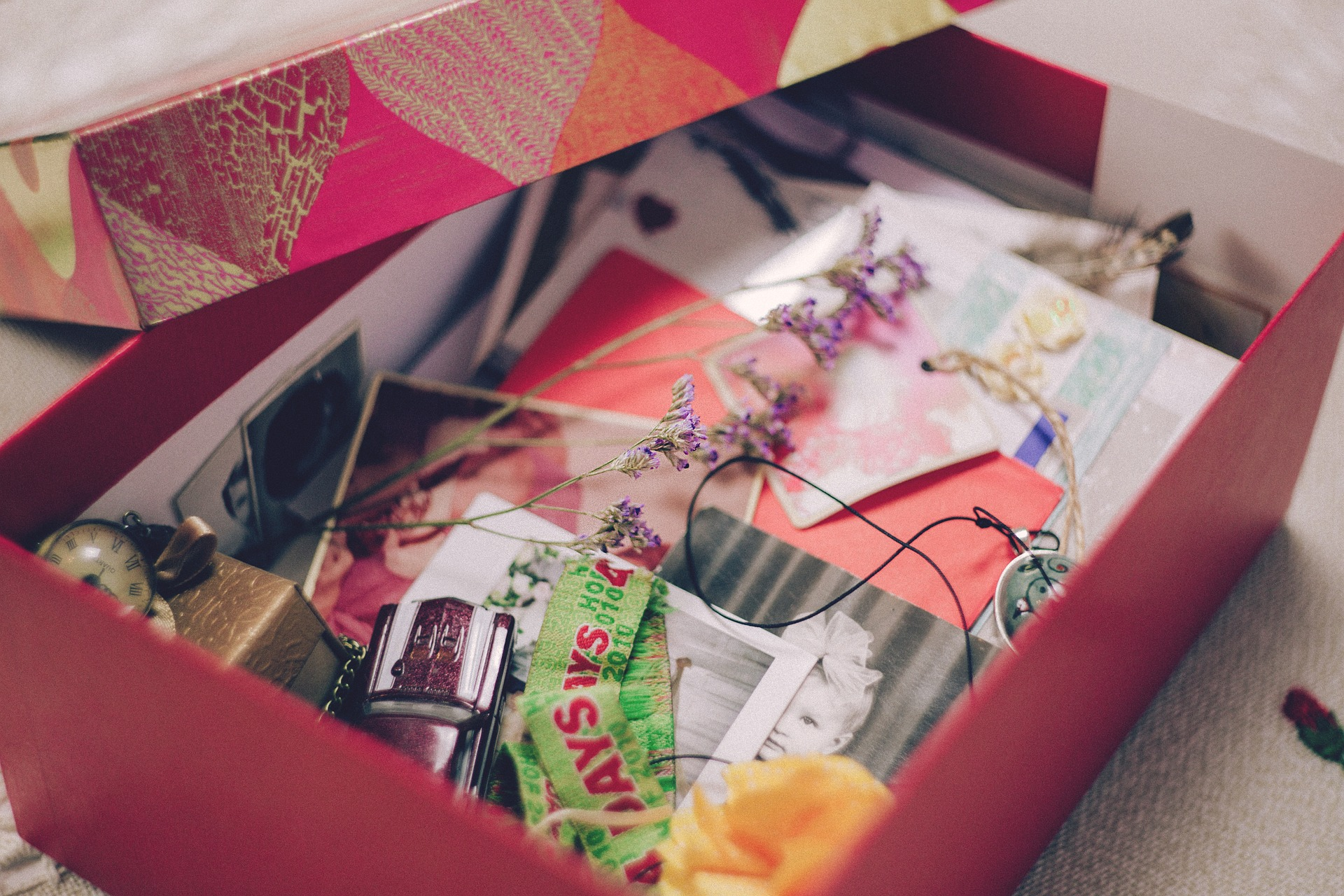 Image of box of photographs and other mementos
