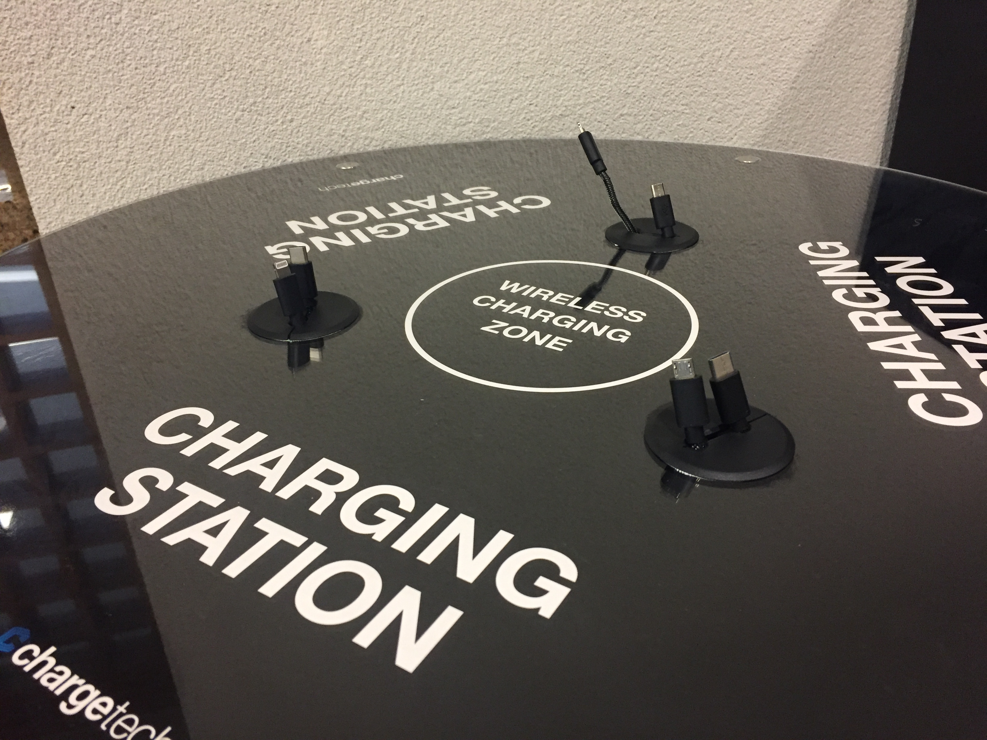 Picture of the charging station located in the Library's lobby.