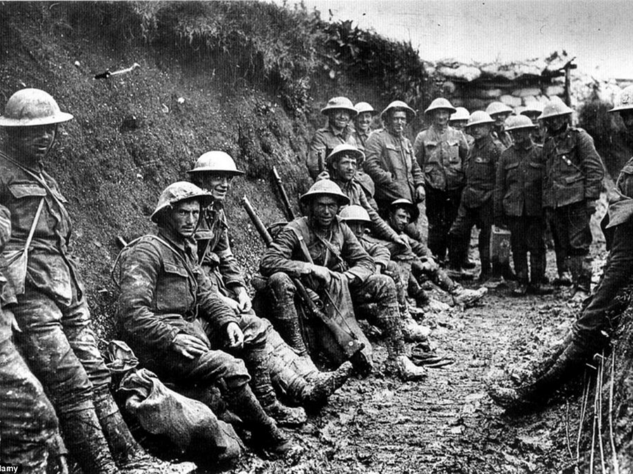A picture of several soldiers in a trench during WWI