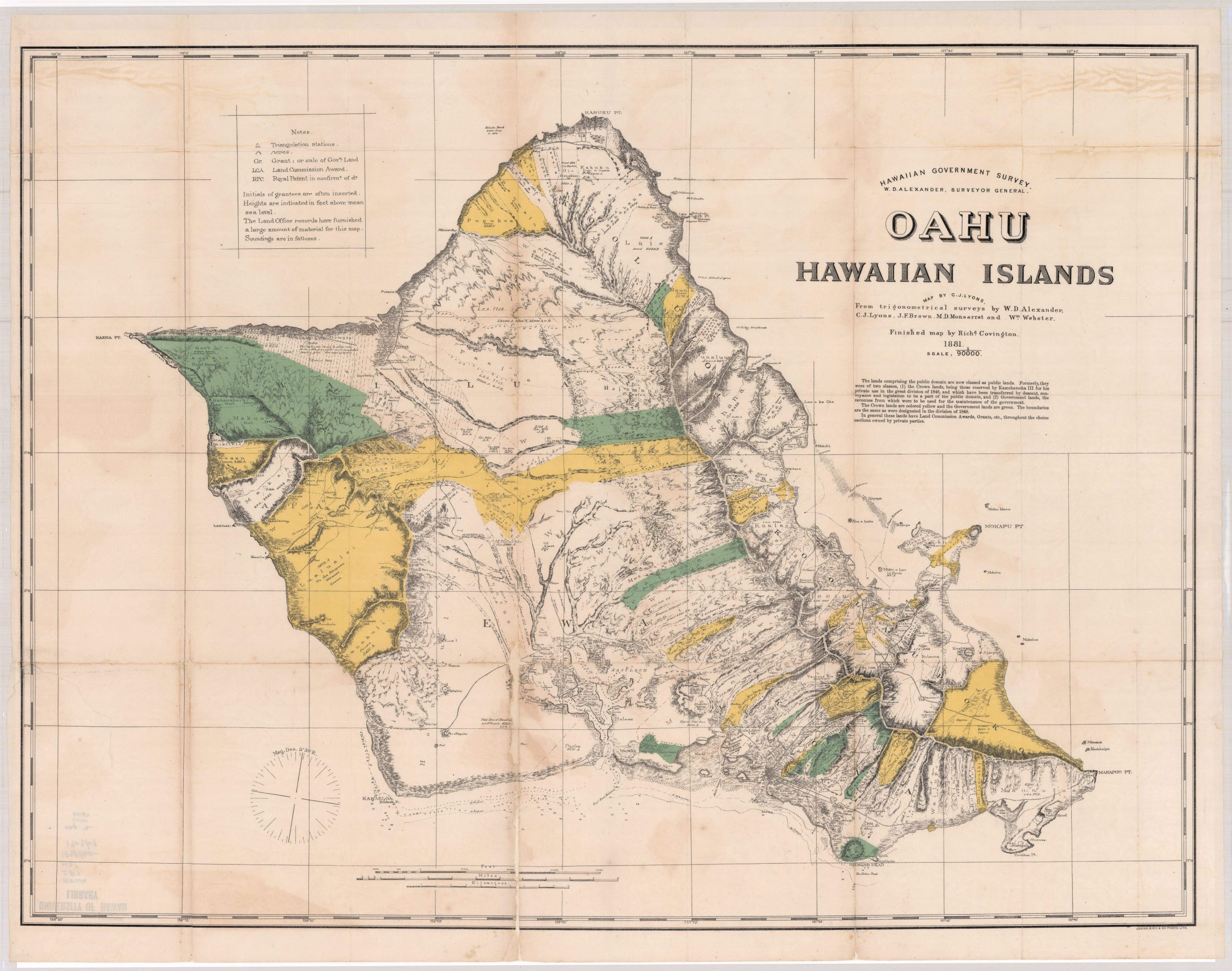 A map of O'ahu from 1881 showing the distinction between crown lands and government lands