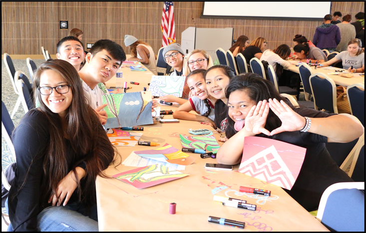 students at a table working together