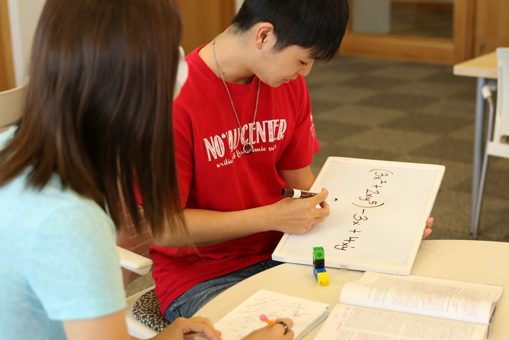 Tutor working with a student while writing on a white board