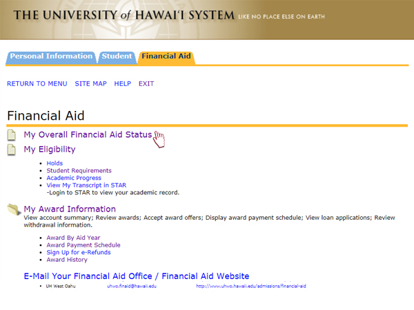 Click on My Overall Financial Aid Status on your Financial Aid Information page