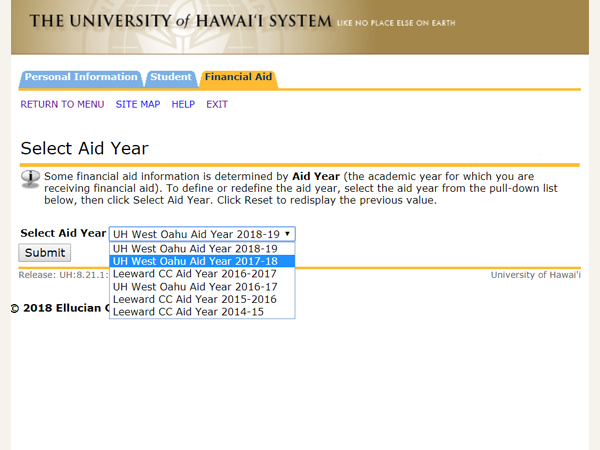 Select the aid year to view a summary of your financial aid information for the specified aid year.