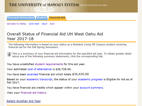 View your overall status of your financial aid for UH West Oahu for the aid year selected.